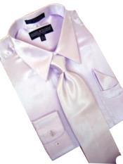 Cheap Priced Sale Satin Lavender Dress Shirt Combinations Set Tie Hanky