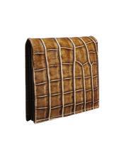 Alligator Skin Wallet - Crocodile Wallet Mezlan Brand LG02-J_HONEY_BEIGE By Mezlan