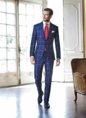 order Navy and Big Pink Plaid Windowpane Suit Coming Sep15/2020