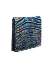 Alligator Skin Wallet - Crocodile Wallet Mezlan Brand LG02-J_BLUE_CAMEL By Mezlan