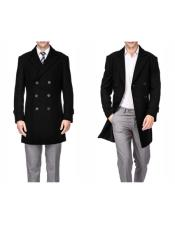 Mens Double Breasted Black Wool Wool Mens Carcoat - Car Coat Mid