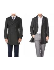 Mens Double Breasted Charcoal Wool Provides warmth Wool Mens Carcoat - Car