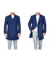 Double Breasted Indigo Front Button Wool Peacoat