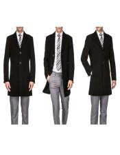 Black Wool Three Quarter Mens Carcoat Long Jacket