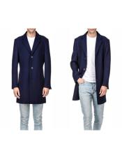 Navy Comfortable Wool Three Quarter Mens Carcoat Long Jacket