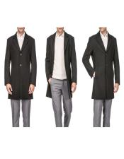 Mens Charcoal Front Button Closure Wool Wool Mens Carcoat - Car Coat