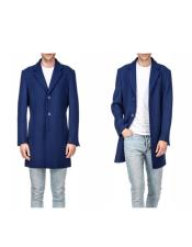 Mens Indigo Comfortable Wool Wool Mens Carcoat - Car Coat Mid Length