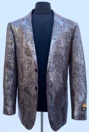 Mens Black  Brown Sport Jacket Blazer Alligator Coat