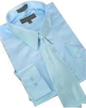 Cheap Priced Sale Satin Light Blue ~ Sky Blue Dress Shirt