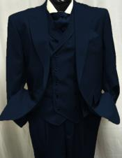 Dark Navy Double breasted Peak lapel Pleated Pants