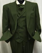 Olive Green Wool Single button Peak lapel Pleated Pants