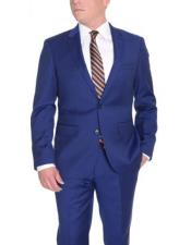 Mens Slim Fit Solid Royal Blue Two Button Wool Suit With Pick Stitching