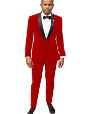 Red Tuxedo Jacket and Velvet Pants