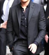Grey ~ Gray Suit + Free Black Shirt & Black Tie Package