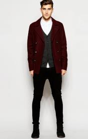 Wool Burgundy ~ Wine Wool Coat ~ Car Coat ~ Peacoat