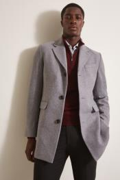 Light Grey ~ Wine One Chest Pocket Wool Wool Mens Carcoat