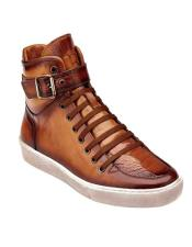 Genuine Skin Italian Taylor Genuine Ostrich Almond Soft Leather High Rise Ankle Mens Dress Sneaker