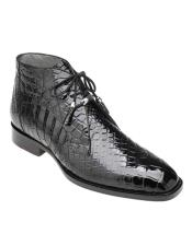 Genuine Skin Italian Stefano Black Genuine Alligator Ankle Boot