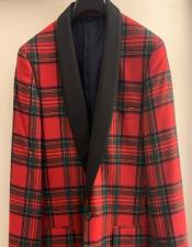 Mens Tartan Double Vent Plaid Pattern Fully Lined Button Closure Suit