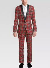 Red and Black Pattern Fully Lined One Button Suit For Men