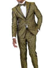 Fashion Gold Paisley Floral Suit or Tuxedo + Matching Bow Tie Perfect