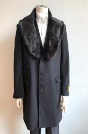 Black Fur Collar Two Flap Front Pockets Full Length Wool Mens