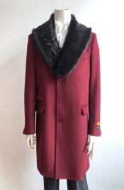 Burgundy Fur Collar Two Flap Front Pockets Full Length Wool Mens