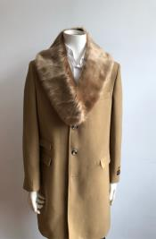 Camel Three Button  Full Length Overcoat Wool Mens Carcoat -