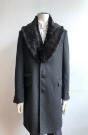 Charcoal Two Flap Front Pockets Full Length Overcoat Wool Mens Carcoat