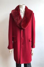 Red Two Flap Front Pockets Full Length Wool Carcoat - Car