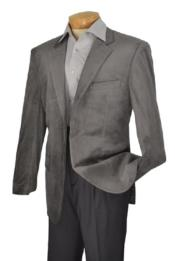 Mens blazer Jacket  Brand Mens 2 Button Style notch lapel Velvet Sport coat Medium Gray ~