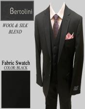 Wool/Silk Black Solid Vested