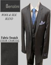 Bertolini Wool/Silk Charcoal Solid Vested