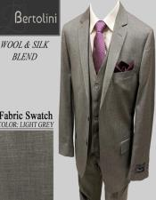 Wool/Silk Light Grey Solid Vested