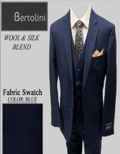 Wool/Silk Blue Solid Vested