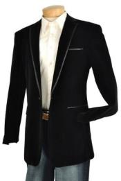 Black Velvet Velour Mens blazer Jacket Trim Lapel Tuxedo Looking