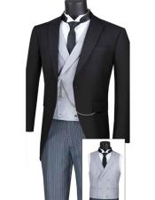 Vinci MTC-1 Modern Fit Mens Tail Style Tuxedo With Striped Pants And