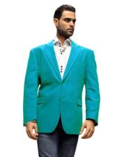 Mens blazer Jacket turquoise ~ Light Blue Stage Party Super 150s Fabric Sport Coat