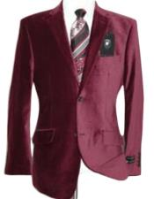 Mens blazer Jacket Velvet Burgundy ~ Maroon ~ Wine Color Sport Coat Cheap Priced Unique Fashion De