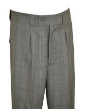 Extrema Grey ~ Black ~ White Plaid Super 150s Wool Pleated Wide
