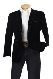 Mens blazer Jacket Mens Luxurious Velvet Slim Sport Coat - Faux Leather Trim Black