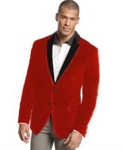 Velour Mens blazer Jacket  Two Tone Trim Notch Collar ~ Red