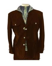 Brown Four Button Two Flap Front Pockets Casual Velvet Mens blazer