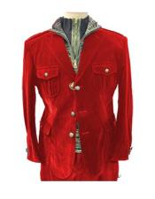 Red 4 Pocket With Brass Buttons Casual Velvet Mens blazer