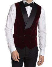 Double Breasted Velvet Vest Burgundy