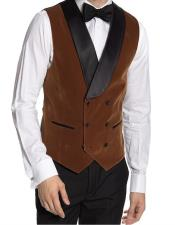 Double Breasted Velvet Vest Brown