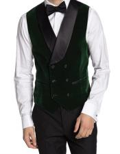 Double Breasted Velvet Vest Green