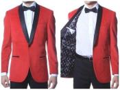 velour Mens blazer Jacket ~ Black Trim shawl collar Red Velvet ~