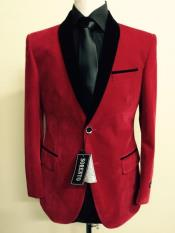 Mens blazer Jacket Mens Red Velvet ~ Tuxedo Black Lapeled