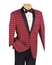 Mens plaid one button blazer